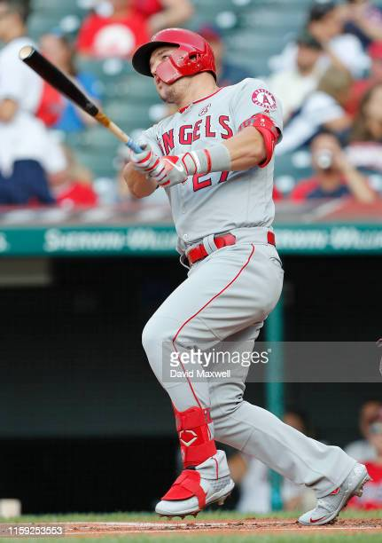 Mike Trout of the Los Angeles Angels of Anaheim hits a home run against the Cleveland Indians in the first inning at Progressive Field on August 2...