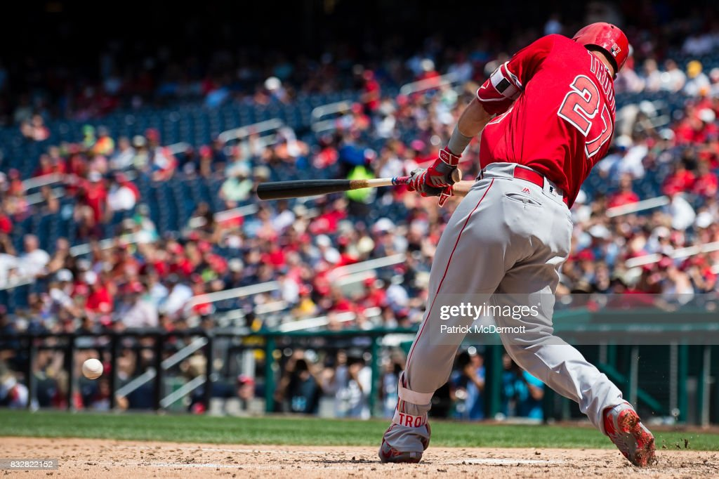 Mike Trout #27 of the Los Angeles Angels of Anaheim hits a single in the sixth inning during a game against the Washington Nationals at Nationals Park on August 16, 2017 in Washington, DC.