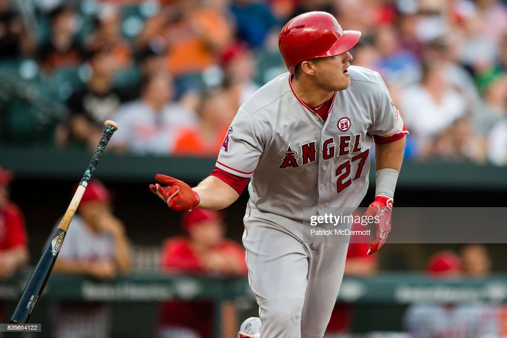 Mike Trout #27 of the Los Angeles Angels of Anaheim hits a solo home run in the first inning during a game against the Baltimore Orioles at Oriole Park at Camden Yards on August 19, 2017 in Baltimore, Maryland.