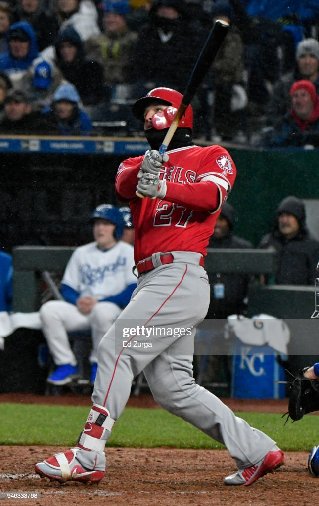 Mike Trout #27 of the Los Angeles Angels of Anaheim hits a two-run home run against the Kansas City Royals in the fifth inning at Kauffman Stadium on April 14, 2018 in Kansas City, Missouri.