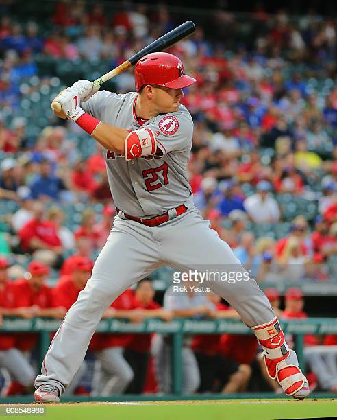Mike Trout of the Los Angeles Angels of Anaheim hits in the first inning against the Texas Rangers at Globe Life Park in Arlington on September 19...