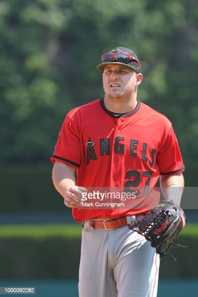 Mike Trout of the Los Angeles Angels of Anaheim looks on while wearing a special jersey and hat to honor Memorial Day during the game against the...