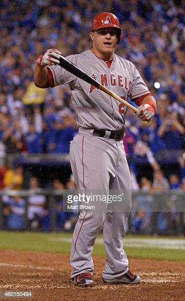 Mike Trout of the Los Angeles Angels of Anaheim reacts during game 3 of the American League Division Series against the Kansas City Royals on October...