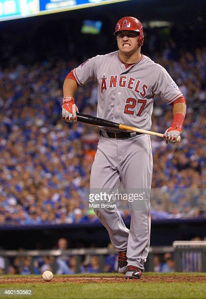 Mike Trout of the Los Angeles Angels of Anaheim reacts while batting during game 3 of the American League Division Series against the Kansas City...