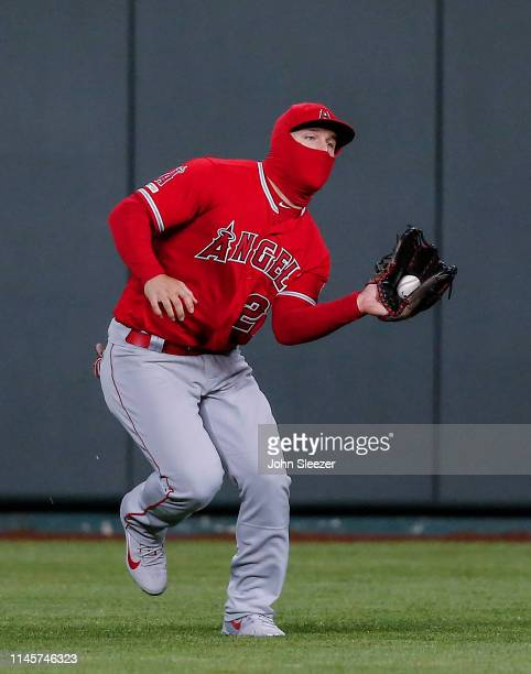 Mike Trout of the Los Angeles Angels of Anaheim runs down a fly ball out on Ryan O'Hearn of the Kansas City Royals in the eighth inning during the...