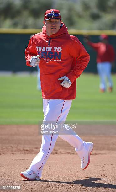 Mike Trout of the Los Angeles Angels of Anaheim runs during spring training on February 24 2016 at Tempe Diablo Stadium in Tempe Arizona