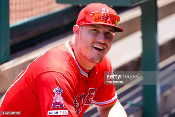 Mike Trout of the Los Angeles Angels of Anaheim smiles during the MLB game between the Los Angeles Angels and Seattle Mariners at Angel Stadium of...
