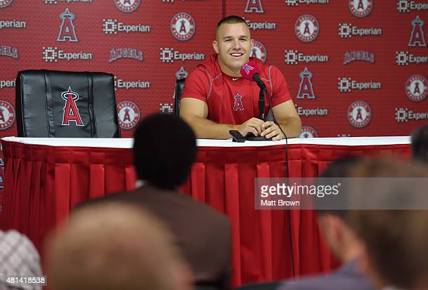 Mike Trout of the Los Angeles Angels of Anaheim smiles while speaking to the media about his MLB AllStar Game MVP Award at a press conference before...