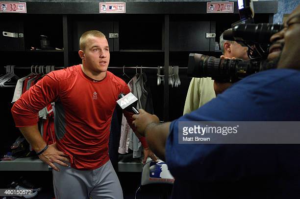 Mike Trout of the Los Angeles Angels of Anaheim speaks to the media after game 3 of the American League Division Series against the Kansas City...