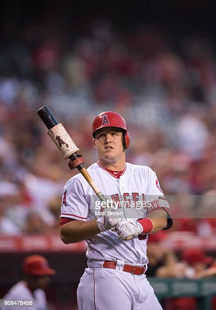 Mike Trout of the Los Angeles Angels of Anaheim stands on deck during the game against the Cincinnati Reds at Angel Stadium of Anaheim on August 30...
