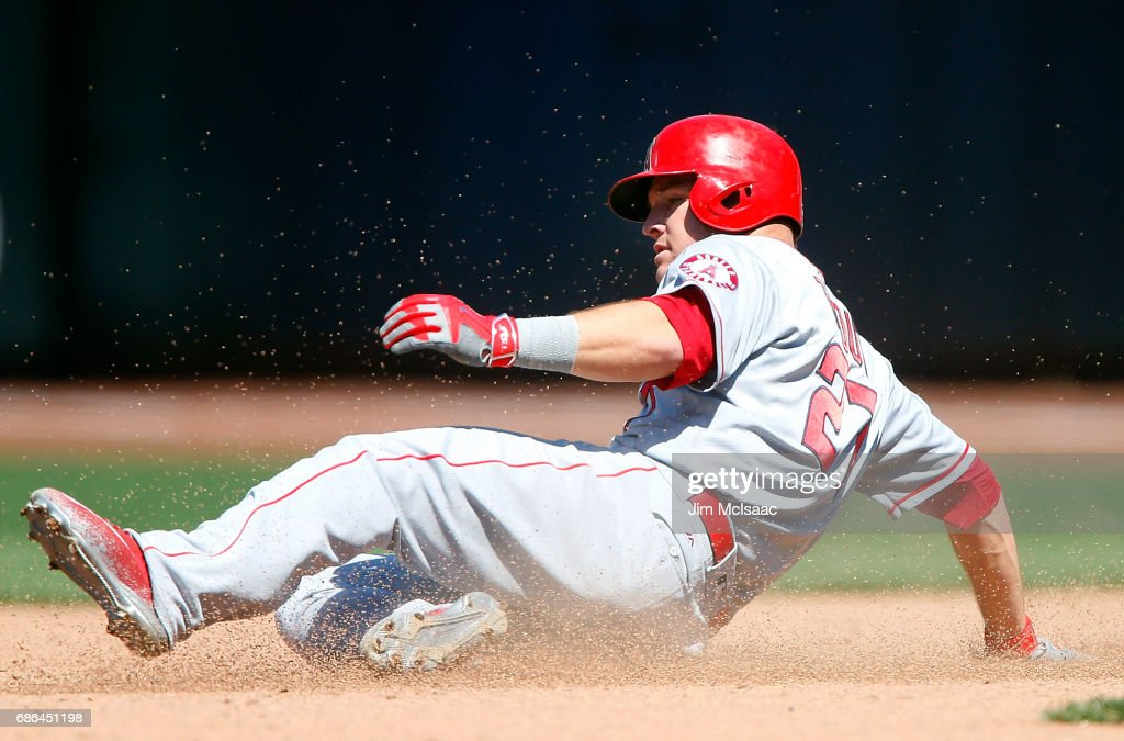 Mike Trout #27 of the Los Angeles Angels of Anaheim steals second base in the sixth inning against the New York Mets at Citi Field on May 21, 2017 in the Flushing neighborhood of the Queens borough of New York City.