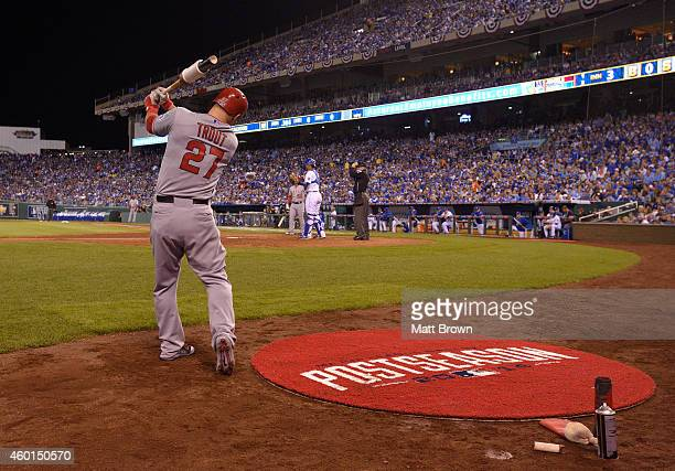 Mike Trout of the Los Angeles Angels of Anaheim stretches in the on deck circle during game 3 of the American League Division Series against the...