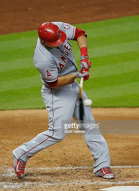 Mike Trout of the Los Angeles Angels of Anaheim swings at a pitch in the fourth inning against the Houston Astros during their game at Minute Maid...