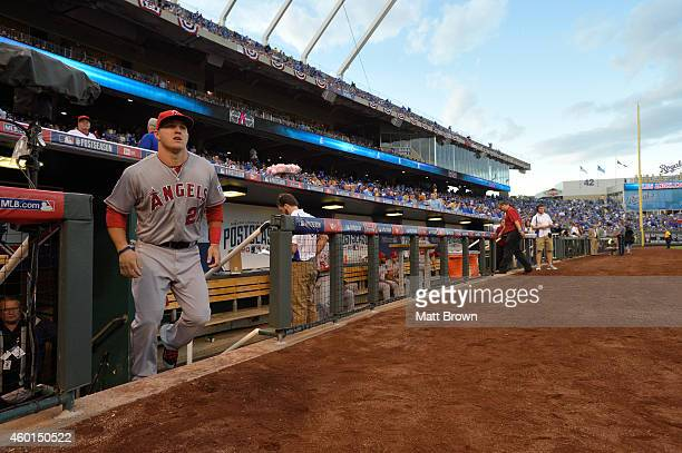 Mike Trout of the Los Angeles Angels of Anaheim takes the field before game 3 of the American League Division Series against the Kansas City Royals...
