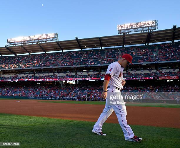 Mike Trout of the Los Angeles Angels of Anaheim warms up prior to Game One of the American League Division Series against the Kansas City Royals on...