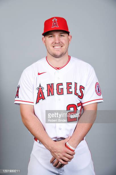 Mike Trout of the Los Angeles Angels poses during Photo Day on Tuesday, February 18, 2020 at Tempe Diablo Stadium in Tempe, Arizona.