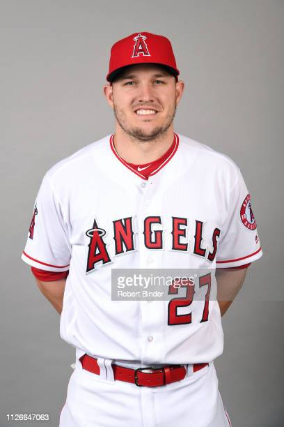 Mike Trout of the Los Angeles Angels poses during Photo Day on Tuesday, February 19, 2019 at Tempe Diablo Stadium in Tempe, Arizona.