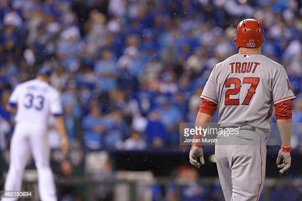 Mike Trout of the Los Angeles Angels prepares to run in the rain during game 3 of the American League Division Series against the Kansas City Royals...