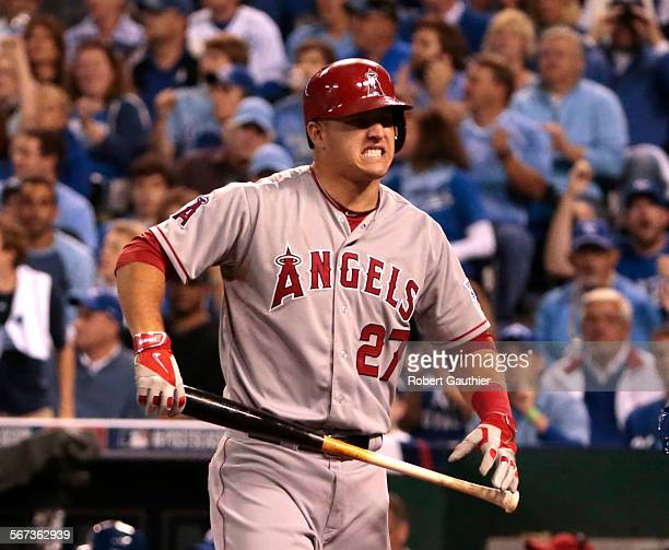 CITY MISSOURI SUNDAY OCTOBER 5 2014 Mike Trout of the Los Angeles Angels reacts after batting against the Kansas City Royals in the third inning...