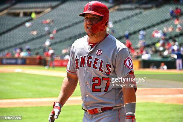 Mike Trout of the Los Angeles Angels reacts after his two-run home run in the top of the first inning during game one of a doubleheader against the...