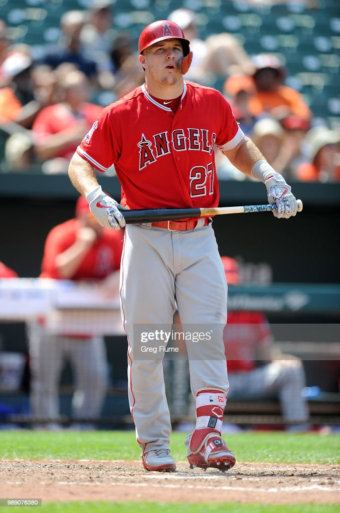 Mike Trout #27 of the Los Angeles Angels reacts after striking out to end the eighth inning against the Baltimore Orioles at Oriole Park at Camden Yards on July 1, 2018 in Baltimore, Maryland.