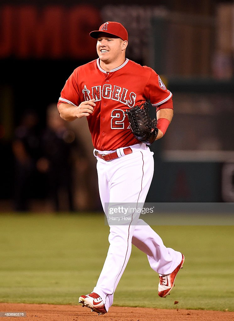 Mike Trout #27 of the Los Angeles Angels reacts to a 5-4 win over the Cleveland Indians at Angel Stadium of Anaheim on August 3, 2015 in Anaheim, California.