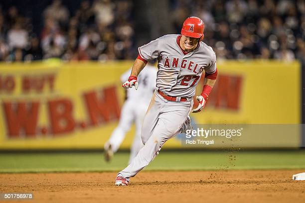 Mike Trout of the Los Angeles Angels runs the bases during the game against the New York Yankees at Yankee Stadium on Friday June 5 2015 in the Bronx...