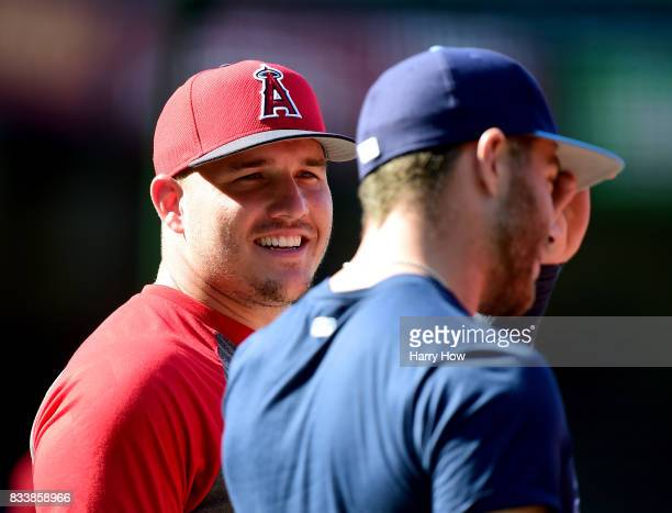 Mike Trout of the Los Angeles Angels smiles at batting practice before the game against the Tampa Bay Rays at Angel Stadium of Anaheim on July 14...