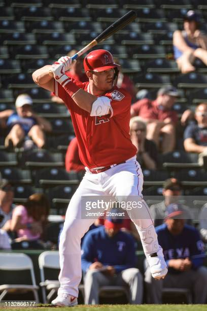 Mike Trout of the Los Angeles Angels stands at bat during the spring training game against the Texas Rangers at Tempe Diablo Stadium on February 28...