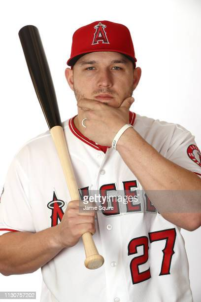 Mike Trout poses for a portrait during Los Angeles Angels of Anaheim photo day on February 19 2019 in Tempe Arizona