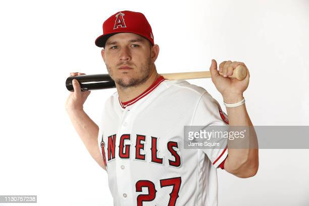 Mike Trout poses for a portrait during Los Angeles Angels of Anaheim photo day on February 19, 2019 in Tempe, Arizona.