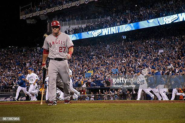 CITY MISSOURI SUNDAY OCTOBER 5 2014 Mike Trout strikes out and the Royals begin to celebrate a 83 win in game three of the American League Division...