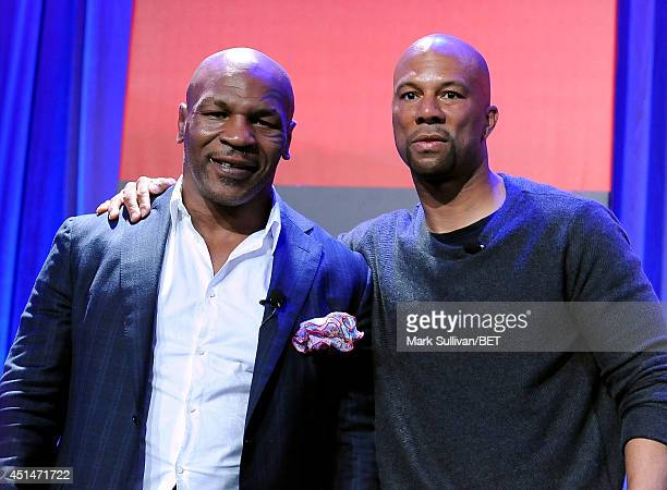 Mike Tyson and Common speak onstage at day 2 of the Genius Talks Presented By RushCard during the 2014 BET Experience At LA LIVE on June 29 2014 in...