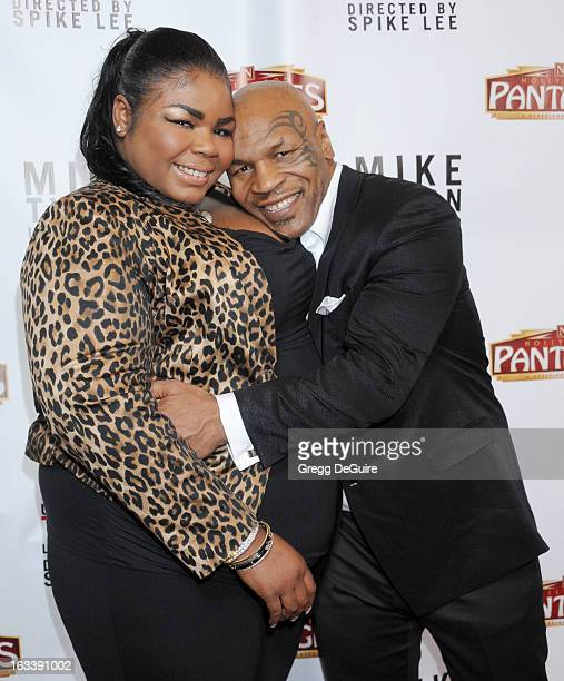 Mike Tyson and daughter Mikey Tyson arrive at the Los Angeles opening night of Mike Tyson Undisputed Truth at the Pantages Theatre on March 8 2013 in...