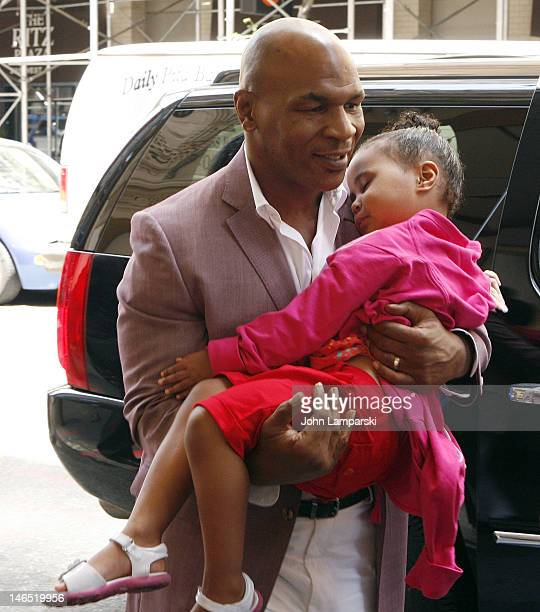 Mike Tyson and daughter Milan Tyson attend Broadway's Mike Tyson Undisputed Truth press conference at the Longacre Theatre on June 18 2012 in New...