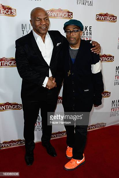 Mike Tyson and director Spike Lee arrive at the opening Night Of Mike Tyson Undisputed Truth At The Pantages Theatre at the Pantages Theatre on March...