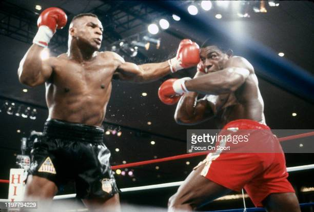 Mike Tyson and Frank Bruno fights for WBC, WBA and IBF Heavyweight titles on February 25, 1989 at the Las Vegas Hilton in Las Vegas, Nevada. Tyson...