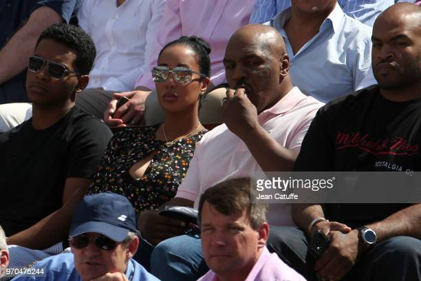Mike Tyson and his wife Lakiha Spicer during Day 12 of the 2018 French Open at Roland Garros stadium on June 7 2018 in Paris France