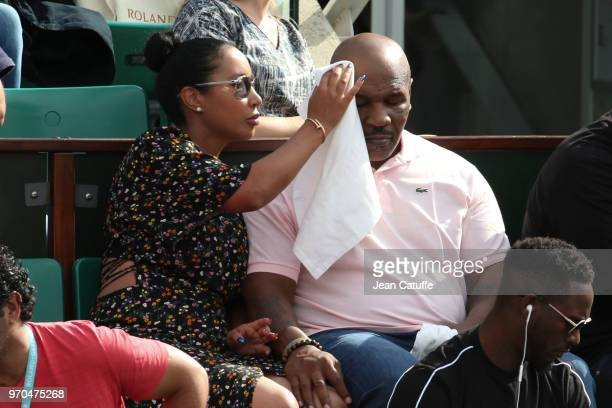 Mike Tyson and his wife Lakiha Spicer during Day 12 of the 2018 French Open at Roland Garros stadium on June 7, 2018 in Paris, France.