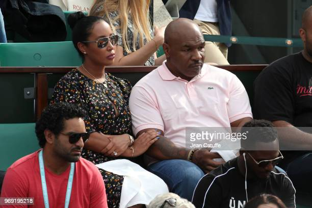 Mike Tyson and his wife Lakiha Spicer watching the all american semi-final between Sloane Stephens and Madison Keys during Day 12 of the 2018 French...