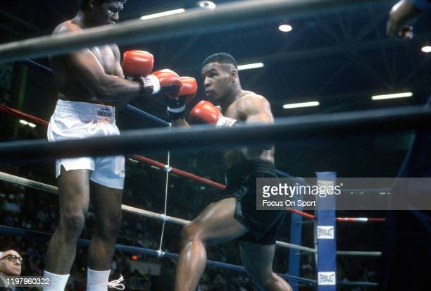 Mike Tyson and James Tillis fight during a Heavyweight match May 3, 1986 at The Civic Center in Glens Falls, New York. Tyson won the fight on a...