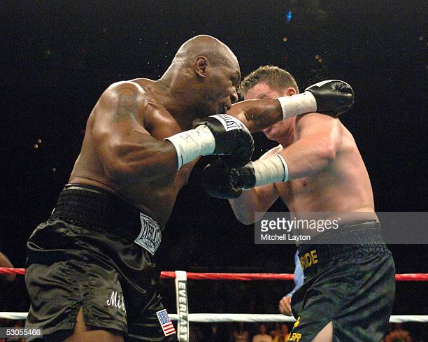 Mike Tyson and Kevin McBride exchange blows during their heavyweight bout at the MCI Center June 11 2005 in Washington DC