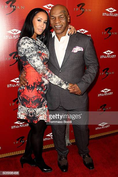 """Mike Tyson and Lakiha Spicer attend the premiere of Well Go USA Entertainment's """"Ip Man 3"""" held at Pacific Theatres at The Grove on January 20, 2016..."""