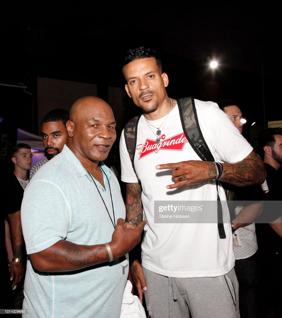 Mike Tyson and Matt Barnes attend the Athletes vs Cancer Smoke4aCure Event on August 9, 2018 in Inglewood, California.