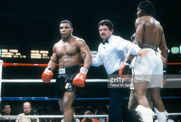 Mike Tyson and Mitch Green fight during a Heavyweight match on May 20, 1986 at Madison Square Garden in the Manhattan borough of New York City. Tyson...