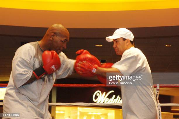 Mike Tyson and World Champion Trainer Jeff Fenech during Iron Mike Tyson Starts Training Camp at Aladdin/Planet Hollywood Resort and Casino at...