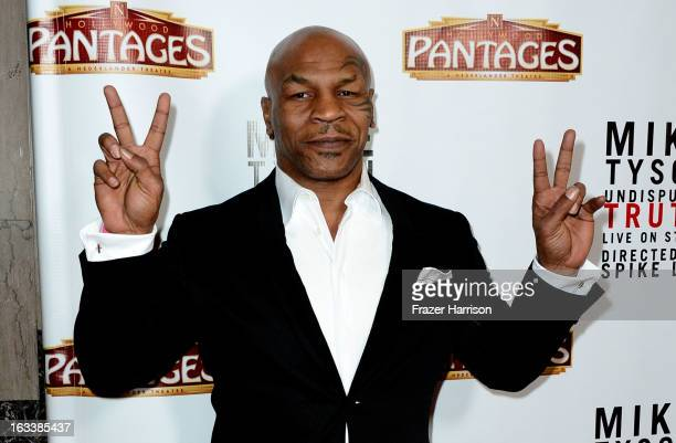 Mike Tyson arrives at the opening Night Of Mike Tyson Undisputed Truth At The Pantages Theatre at the Pantages Theatre on March 8 2013 in Hollywood...