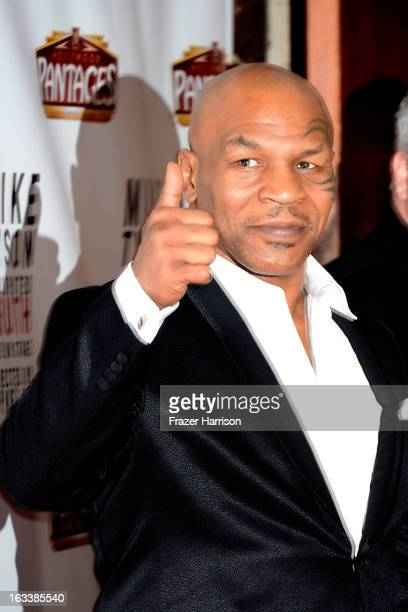 Mike Tyson arrives at the opening Night Of 'Mike Tyson Undisputed Truth' At The Pantages Theatre at the Pantages Theatre on March 8 2013 in Hollywood...