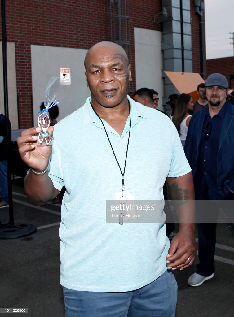 Mike Tyson attends the Athletes vs Cancer Smoke4aCure Event on August 9, 2018 in Inglewood, California.