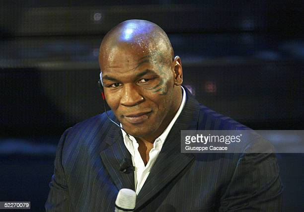 Mike Tyson attends the second day of the San Remo Festival at the Ariston Theatre on March 2 2005 in San Remo Italy The fiveday singing competition...